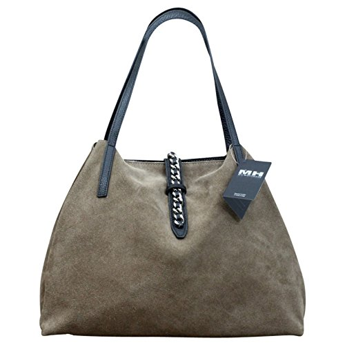 Made in Italy Luxus Damen Schultertasche Beutel Leder Wildleder Shopper, Farbe:Taupe Taupe