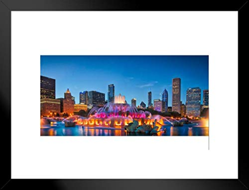 Poster Foundry Chicago Skyline Buckingham Fountain Panorama bei Nacht, gerahmt, 66 x 51 cm