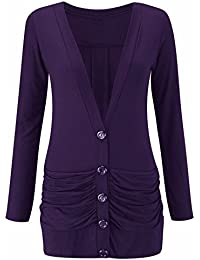 NEW LADIES WOMENS LONG SLEEVE BUTTON BOYFRIEND RUCHED POCKET CARDIGAN PLUS SIZE