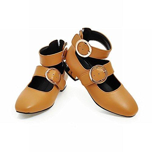 Mee Shoes Damen ankle strap Reißverschluss flach Pumps Gelbbraun