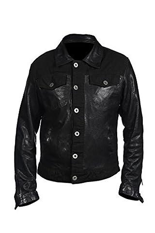 Les hommes camionneur occasionnel cuir Nappa Noir Shirt Jean Jacket XS