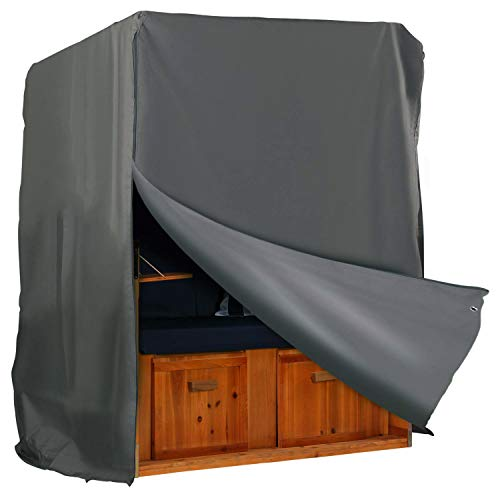 Hentex Cover Strandkorb Abdeckung Winterfest und Wasserdicht, Sonnencreme, UV- Beständig Strandkorb Premium Strandkorbhülle anthrazit L 128cm