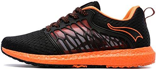 ONEMIX Uomo Maglia Scarpe da Ginnastica Basse Sportive Outdoor Fitness Running Sneakers Nero/Arancio 42 EU