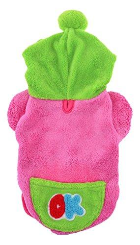 Como Sourcingmap einreihig Brief gedruckt Kapuzen Pet Hundemantel Jacke, groß, Fuchsia/grün Single Breasted Jacke