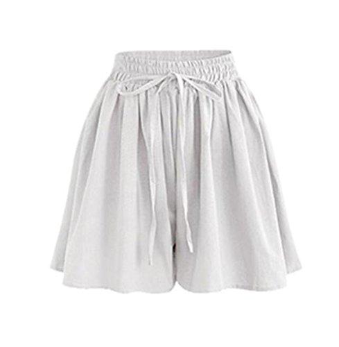 Damen Sommer High Waist Locker Short Stoff Hosenrock Kurz Hot Pants (Weiß, M) ()
