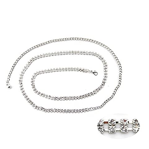 79cm Silver 2 Row Rhinestone Waist Belt for Women Ladies Girls Diamante / Diamond with Stylish Clasp for Casual Party and Formal Wear by Wedding Decor
