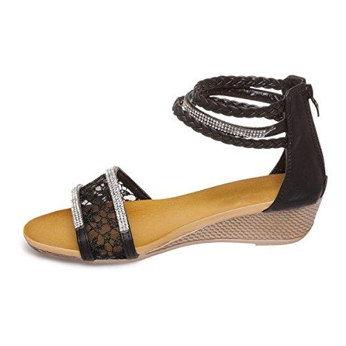 La Modeuse - Sandales en simili cuir dotées de 3 brides chevillesavec strass et tressées Noir