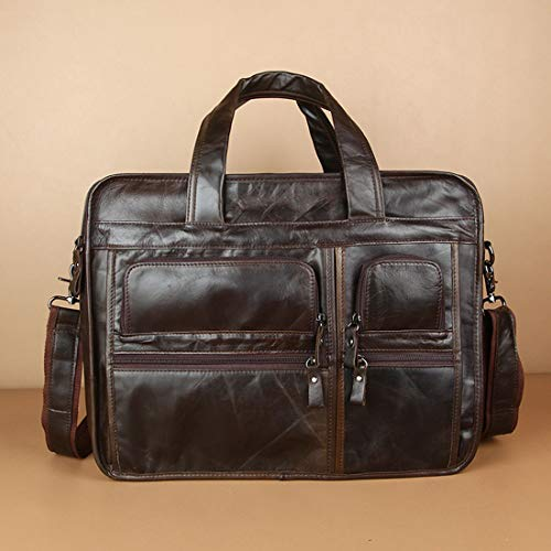 Top Zip-aktentasche (JOCCX Herren robuste echtes Leder Zoll Laptop-Tasche Top-Zip Laptop Messenger Bag Blac Aktentasche Schultertasche,Black)