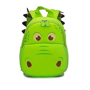 Yisibo Kinderrucksack Kindergarten Umwelt Rucksäcke 3D-Karikatur-nette Tier Schoolbags Zoo Wandern Reisen Camping Kleinkind Sidekick -Pack Grün Nilpferd