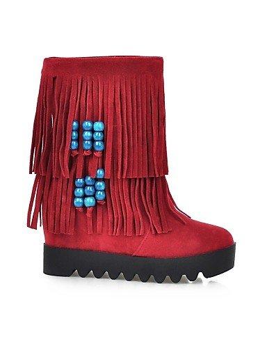ShangYi Mode Frauen Schuhe Damenschuhe Keilabsatz Plattform/Mode Schuhe/Stiefel Runder/Casual Kleid Schwarz/Gelb/Rot/Beige Gelb