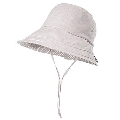 SIGGI Leinen/Baumwolle Damen graue Sonnenhüte Sonnen Shade mit Kinnriemen faltbare Fischerhüte SPF 50 + breite Krempe