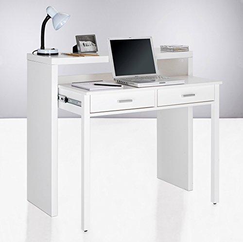 Home Innovation – Ausziehbarer Schreibtisch, Studio-Konsolentisch, Computertisch, PC, 2 Schubladen, Oberfläche glänzendes Weiß, Maße: 98,6×86,9×36- 70 cm