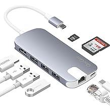 Adaptador USB C QacQoc GN30H Hub USB C con 1 conector tipo C (para carga) / PD, 1 salida HDMI, 2 lectores de tarjetas (SD y Micro SD), 3 puertos USB 3.0, 1 conector Gigabit Ethernet, específico para macbook pro y otros dispositivos