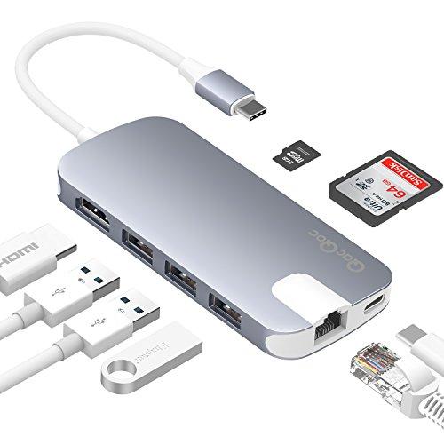 QacQoc USB C Hub USB C Adapter mit 3 USB 3.0 Ports, SD- und Micro SD-Kartenleser, USB C Ladeanschluss, Ethernet-Anschluss, HDMI Port Geeignet für MacBook/Pro, Google Chromebook usw.(Grau+Weiße Kabel)