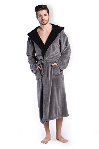 COSMOZ® Premium Herren Coral Fleece Morgenmantel Bademantel- Gr. M, Farbe: Grau mit schwarzer Kapuze
