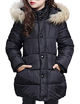SMITHROAD Wintermantel Mädchen verdickte mit Kapuzen Pelzkragen Oberbekleidung Steppjacke Winterjacke warm Lang...