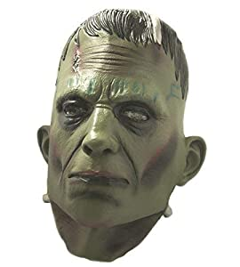 The Rubber Plantation TM 619219293198 Deluxe Frankenstein Monster Mask Latex Boris Karloff Halloween Horror Cosplay Full Head Disfraz accesorio de Coopers Fancy Dress, Unisex Adulto, Talla Única