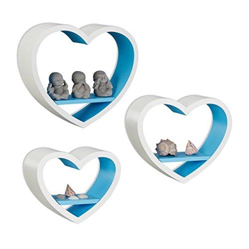 Relaxdays 10021817_361 set 3 mensole da parete a forma di cuore, romantiche, capacità di carico 6 kg, pensili, bianco-blu