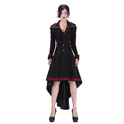 Kostüm Paket Fedex (Cosplayitem Damen Steampunk Mantel Rock Gothic Kleidung Vampir Kostüm Halloween)
