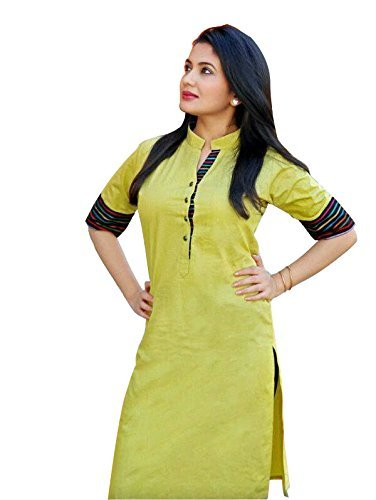 Aracruz Women's Designer Party Wear Collection Low Price Sale Offer Lemon Yellow Color Plain Cotton Top Tunic Dresses Kurti Kurta with Chinese Collar  available at amazon for Rs.249