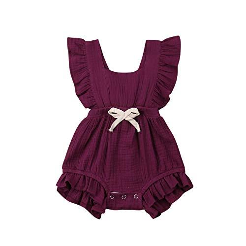 Kleinkind Baby Mädchen Junge Outfits Einfarbig Strampler àrmellos Spielanzug Baby Toddler Baby Neugeborenes Kinderkleidung, Rot & Violett, 90 für 12-18 Monaten ()