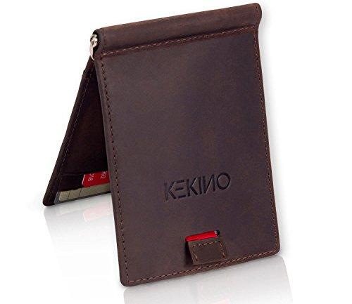 Braune Clip Geld-clip (KEKINO Kreditkartenetui mit Geldklammer aus Leder - RFID-Schutz - Schlanke Geldbörse Herren - Geldbeutel Brieftasche Portemonnaie mit Geldspange - Geschenkbox - braun)