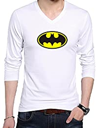 V Neck Full Batman Logo Printed T Shirt - Men's Batman Logo Printed V Neck Full Sleeve Graphic T Shirt - White