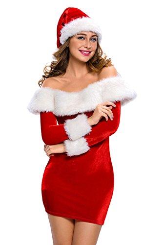 Aleumdr Damen Weihnachtskostüm Santa Weihnachts-Kleid mit Mütze Off Schulter Minikleid Rot (Kostüme Sweetie Santa)