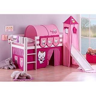 Lilokids Spielbett Jelle Angel Cat Sugar, Hochbett mit Turm, Rutsche und Vorhang Kinderbett, Holz, weiß, 208 x 98 x 113 cm