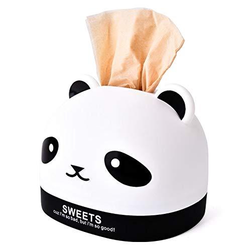 Cratone Panda Taschentuchbox Karikatur Taschentuchspender Kunststoff für Badezimmer Schminktisch weiß 13 * 16.7cm