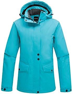 Wantdo Mujer Chaqueta De Esquí A Prueba De Viento Capa Polar Con Capucha Desmontable