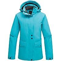 wantdo women's hooded windproof ski jacket fleece rain jacket winter coat