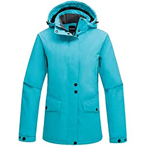 wantdo women's hooded windproof ski jacket fleece rain jacket winter coat