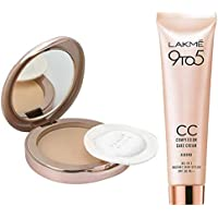 Lakme 9 to 5 Flawless Matte Complexion Compact, Almond, 8g & Lakme 9 to 5 Complexion Care CC Cream, Almond, 30g