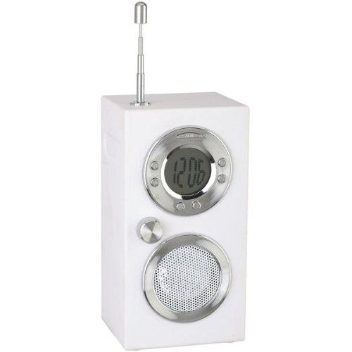 Radio réveil Koby Blanc Affichage digital Ecran LCD Design rétro Antenne ABS Soft touch et métal