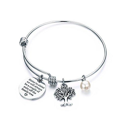 CJ&M Sister - Pulsera de joyería - hermana a hermana que siempre seremos una pareja de tuercas del árbol familiar, regalo para hermana