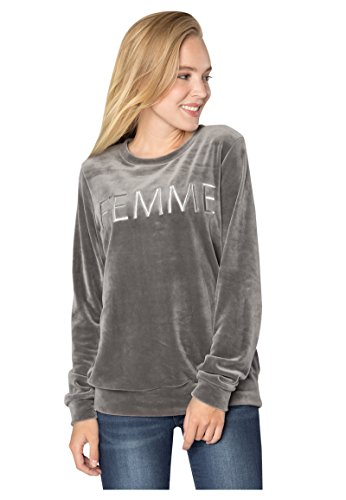 Rock Angel Damen Nicki-Pullover FEMME | Sweatshirt | Sweat-Pullover mit Print in Grau & Rosé middle-grey M