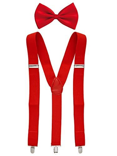 Goldschmidt Kostüme Hosenträger und Fliege Set längenverstellbar Deluxe (rot)
