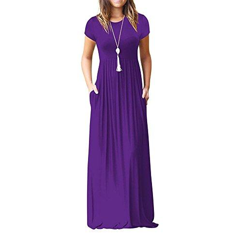 MCYs Damen Sommerkleider Elegant Einfarbig Falten Kurzarm Lose Strandkleid Bandeau Langarm Beach Maxi Kleider mit Tasche (2XL, Lila)