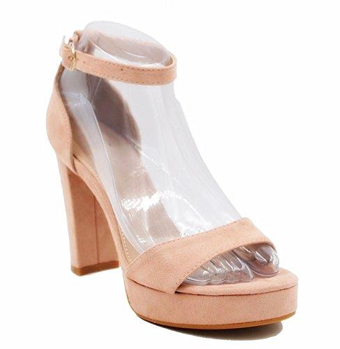 King Of Shoes Damen Abend Sandaletten Riemchen Pumps Slingbacks Peep Toes High Heels Velours Schuhe Bequem Party 05 (38, Pink) (Slingback Toe Heels)