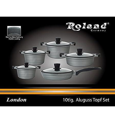 Aluguss Kochtopf 10.Tlg Set Topf Aluminum Keramik Antihaft INDUKTION IM-1030CR -Aluminum Kochgeschirr- London