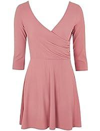 Topshop Petite Pink Long Sleeve Wrap Back Skater Dress UK 14 EURO 42 US 10 - 20ce8db91
