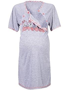Happy Mama. Donna Prémaman Camicie da Notte Allattamento LOVE YOU stampa. 193p