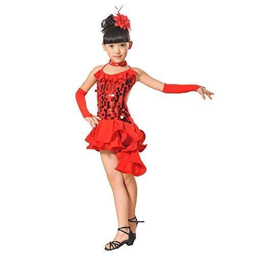 YUAN Kleinkind Kinder Mädchen Latin Ballett Kleid Party Dancewear Ballroom Dance Kostüme (140, rot)