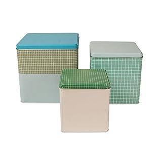 Schmuckdosen Vorratsdosen Metalldosen Gebäckdosen rechteckig aus Metall SQUARE 3-er Set in Türkis-Mint- und Blautönen und schlichtem Design von Aspegren