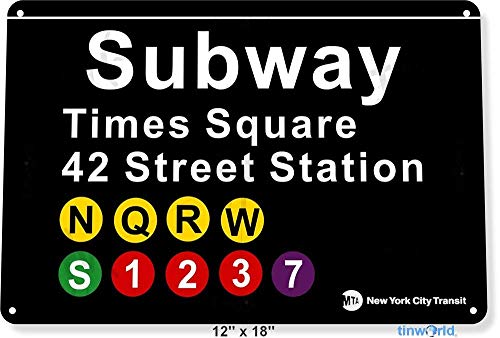 Wise Degree * Subway Times Square New York World Metall Poster Wand Küche Kunst Cafe Garage Shop Bar Dekoration