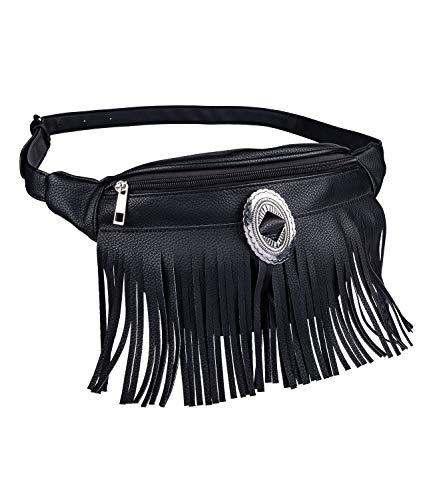 Damen Fransen (SIX Damen Bauchtasche, Trendige Umhängetasche mit Fransen, Tasche aus Kunstleder in schwarz mit silbernen Details (726-757))