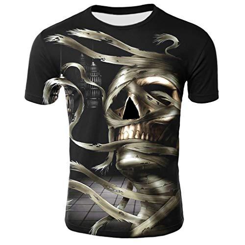 Herren Tops 3D Schädel Drucken T-Shirts Steampunk Gothic Karneval Party Shirt Kurzarm Sommer Druck Sweatshirt Kurzarmhemd Slim Fit Motive Tees Top Rundhals Casual Männer Hemd M - 4XL