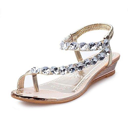 Damen Sommer Sandalen Strass Wohnungen Plattform Keile Schuhe Flip Flops Strandschuhe Zehentrenner (36, Gold) (Mädchen Keile)