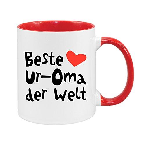 Beste Ur-Oma der Welt - hochwertiger Keramik-Kaffeebecher - Cups by t? - Kaffeetasse - Spruchtasse - Tasse mit Spruch - Geschenk